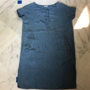 Hartford blue denim flow-y short sleeved dress